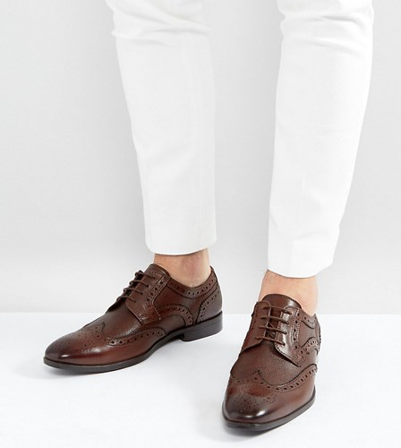 Asos Wide Fit Derby Brogue Shoes In Brown Leather With Embossed Panels Brown d7LYDyFxE