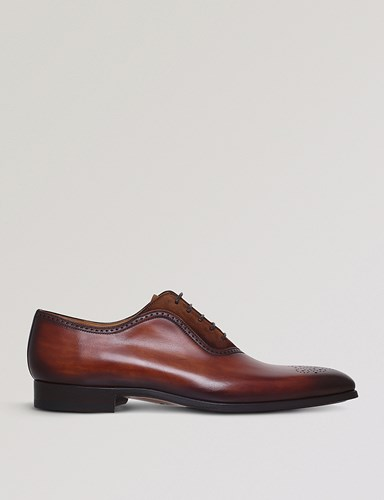 Magnanni Perforated Leather And Suede Oxford Shoes Brown fEEGQfDu