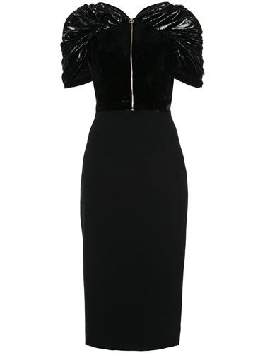 Metallic Polyester Zipped Black Silk Dress Polyurethane Christian Fitted Siriano Fibre 0Xq5SU