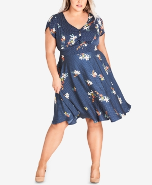 City Chic Trendy Plus Size Cap Sleeve Fit And Flare Dress Spot 8Lsp2plU5