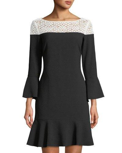Karl Lagerfeld Lace Yoke Shift Dress W Flounce Hem Black Pattern uqXmJ6