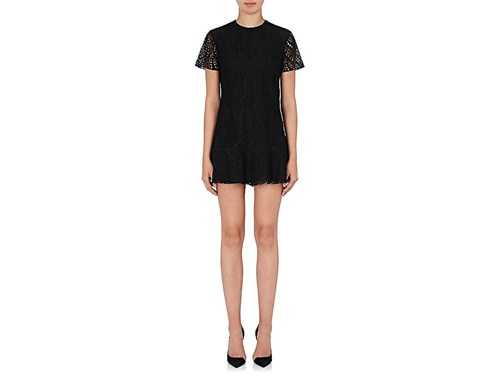 Saint Laurent Women's Cotton Blend Lace Shift Dress Black PS3GaM