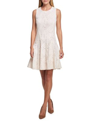 Tommy Flare And Hilfiger Ivory Palm Lace Fit Dress Spring 4P4Crqaxw