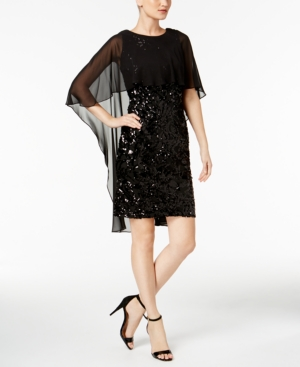 Calvin Klein High Low Popover Sequined Dress Black PqNntL7Q