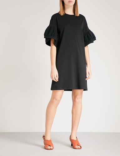 See by Chloe Bell Sleeve Cotton Jersey T Shirt Dress Black 6ZjFmTbVd