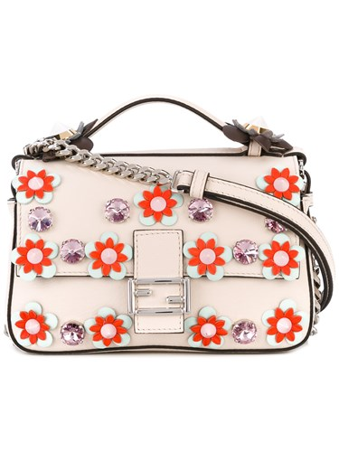 Fendi Embellished Micro Double Baguette Cross Body Bag Calf Leather Nude Neutrals hEBisIgLa