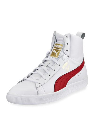 Leather Clyde Sneaker Mid Red White High Core Puma Top wXdCZq77