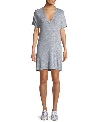 Gray V Rosalind Sleeve Rag Short Dress Bone and Neck w6Hxgnp8q