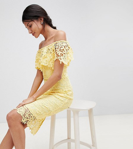 Paper Dolls Tall Bardot Lace Pencil Dress With Frill Detail Yellow bchPC6