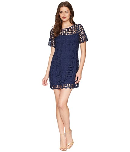 Laundry by Shelli Segal Venise Shift Dress Midnight Navy 8BNLO