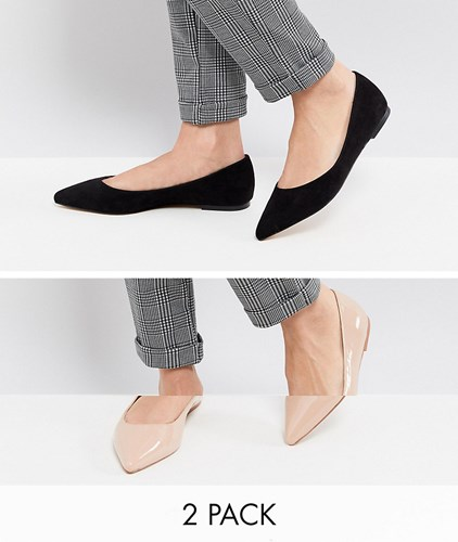 Asos Latch Two Pack Pointed Ballet Flats Black Nude Multi bwfr5b7YW