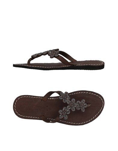 LAIDBACK LONDON Toe Strap Sandals Dark Brown eBjhxYo3