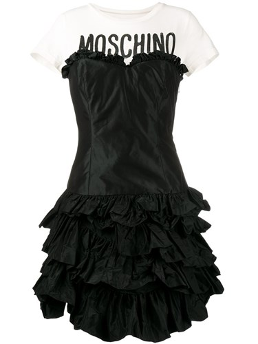 Moschino Ruffled Tiered T Shirt Dress Black QT99drDu4