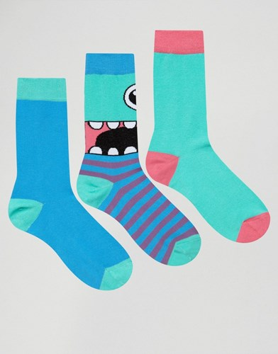 Socks With Monster Design 3 Pack Multi