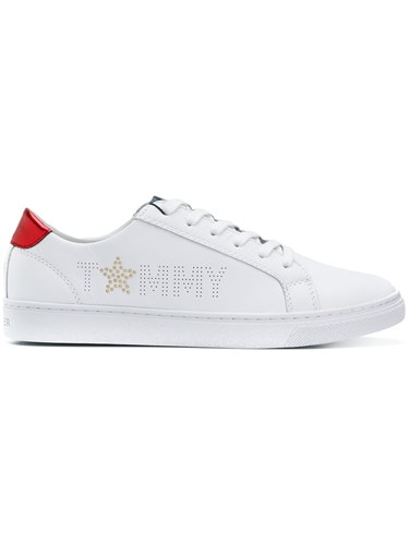 Perforated Sneakers Hilfiger Tommy White Logo q54gwO