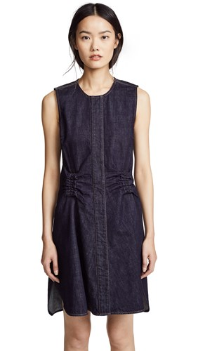 Carven Flared Denim Dress With Gathered Waist Indigo tlzIKl