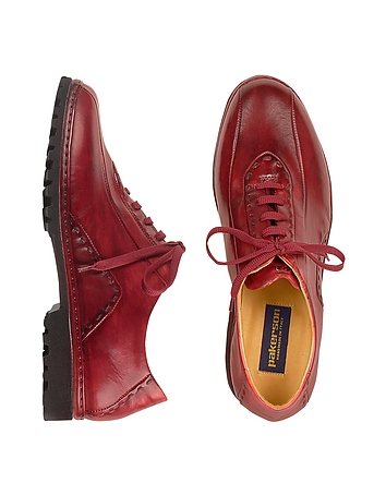 Pakerson Red Italian Hand Made Leather Lace Up Shoes OXkteV08q