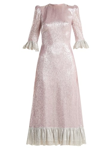 Silver Ruffle Silk Dress Pink WIFE Blend VAMPIRE'S THE Falconetti Trimmed 71tznwq