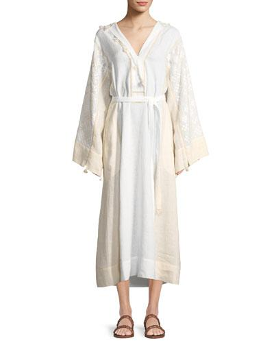 Linen White Sleeve Embroidered Belted Hooded Vita Kin Dress Bell xBwqgvSYp
