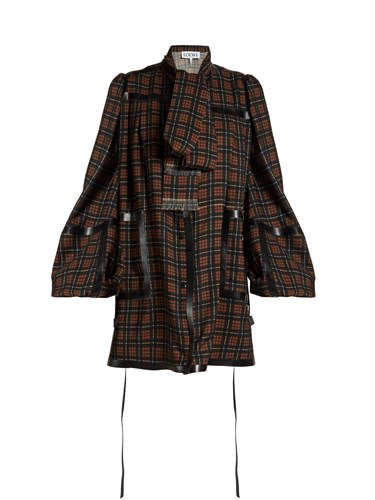 Loewe Tape Trimmed Checked Mini Dress Black Brown d0cMEhZp