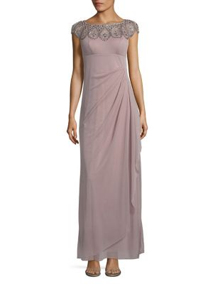 Xscape Evenings Embellished Cap Sleeve Gown Mauve NI5MOb