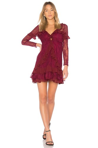 For Love & Lemons Daphne Lace Mini Dress Burgundy dGSsTXz