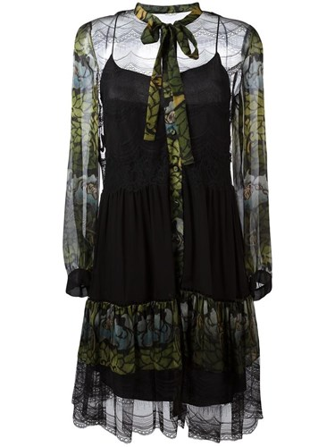 Alberta Black Print Floral Sheer Dress Ferretti qCwq1vxBz