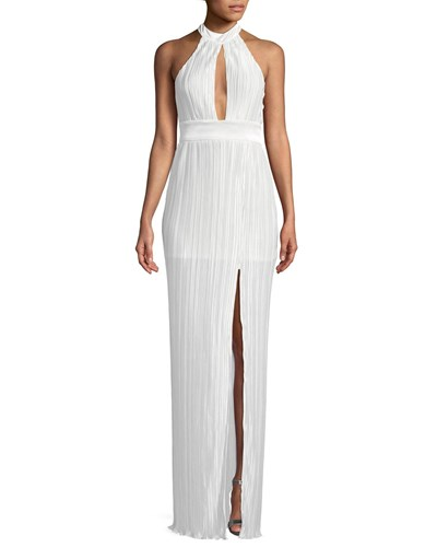 The Jetset Diaries Aster Pleated Halter Neck Maxi Dress Ivory WUki4XWlc
