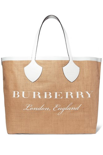 Burberry Leather Trimmed Printed Canvas Tote Sand Gbp rp6GIJh74O