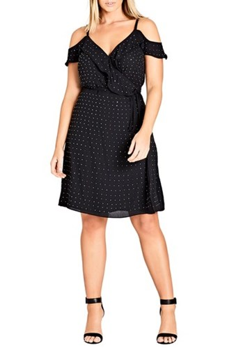 City Chic Plus Size Women's Flirty Bling Cold Shoulder Ruffle Fit And Flare Dress Black rwsYC0PES