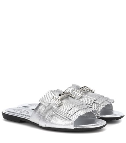 Tod's Double T Metallic Leather Sandals Silver u3BjioQV4