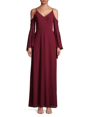 Betsy & Adam Cold Shoulder Chiffon Gown Burgundy BC1gky