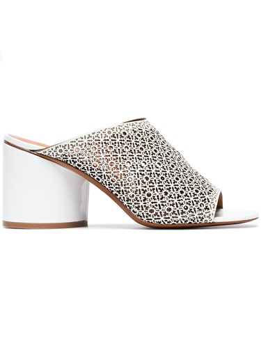 Robert Clergerie White Cara 75 Leather Mules P6EzJlpe