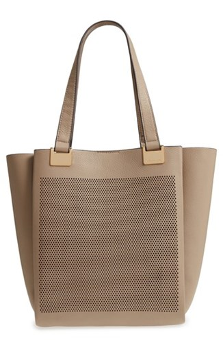Vince Camuto Beatt Perforated Leather Tote Beige Kangaroo Sushi oQfyE