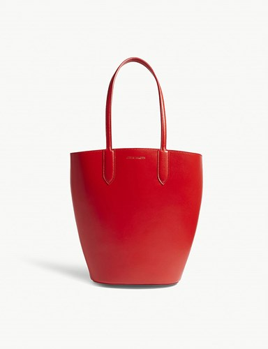 Small Lust Leather Red Basket Tote Alexander McQueen w0xSEO0H