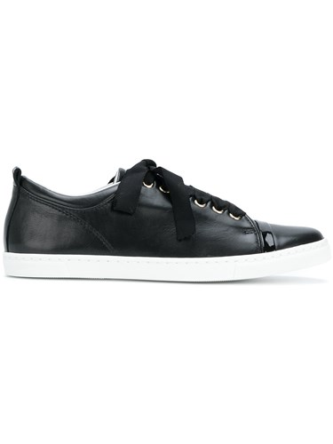 Lanvin Classic Low Top Sneakers Lamb Skin Leather Rubber Black ISViF0AE