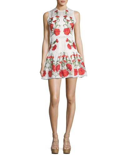 Alexis Sabella Sleeveless Floral Embroidered Fit And Flare Linen Dress White Pattern m28Pcuog