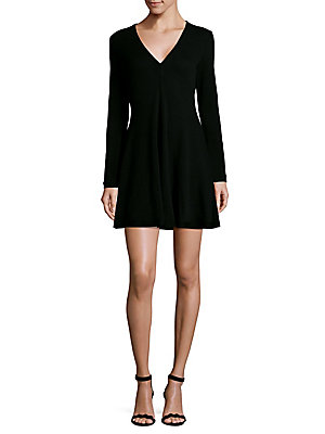 IRO Long Sleeve Mini Dress Black iddVWmglQ