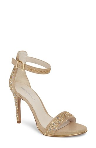 Kenneth Cole 'S New York 'Brooke' Ankle Strap Sandal Light Gold Microsuede QExQM1Iy5H