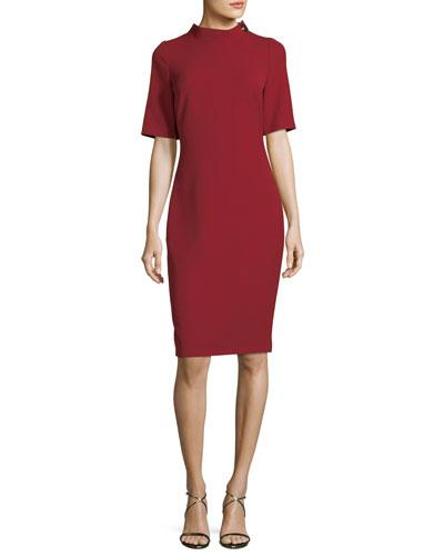 Scarlet Sleeve Elbow Turn Lock Sheath Badgley Dress Mischka wIUOqt0