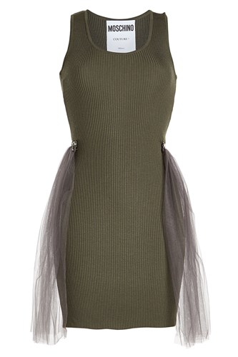 Moschino With Tulle Wool Ribbed Dress 1qzantr1S