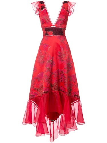 Marchesa Notte Jacquard Asymmetric Gown Acetate Polyimide Red T6gLWv
