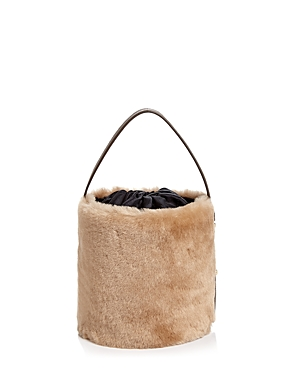 Arron Small Shearling And Leather Bucket Bag Camel Gold jRUzNXi0qX