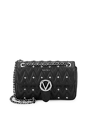 Valentino By Mario Valentino Studded Leather Shoulder Bag Black OWuLn00B6