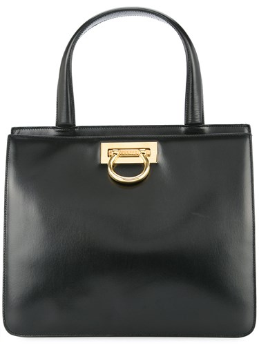 Celine Vintage Double Compartment Structured Tote Black mMb4elWd