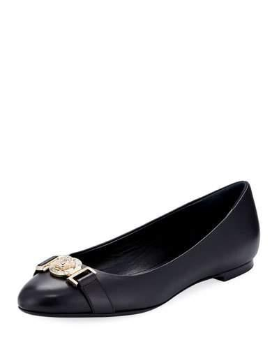 Versace Leather Ballerina Flat With Lion Head Black Gold Vseqcj