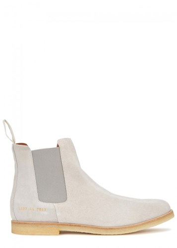 Common Projects Stone Brushed Suede Chelsea Boots Light Grey eCWNm5LT