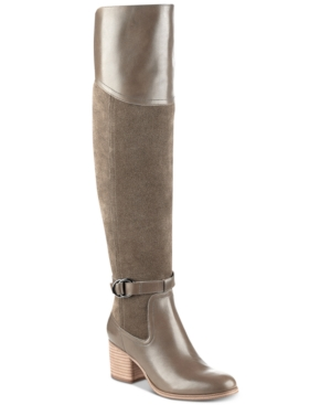 Marc Fisher Eisa Over The Knee Block Heel Boots Women's Shoes Taupe kGxQf