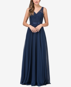 Dancing Queen Juniors' Embellished Lace Bodice Gown Navy fKn1g