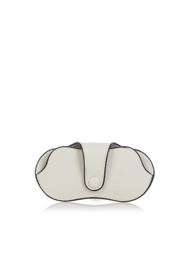 Valextra Grained Leather Glasses Case White 3YDAt